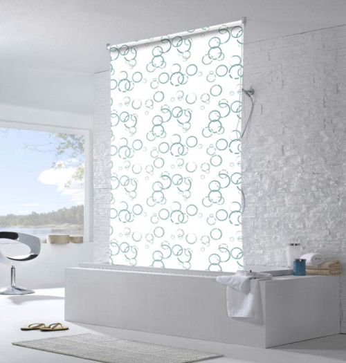 Moisture Resistant Funky Bathroom Roller Blinds