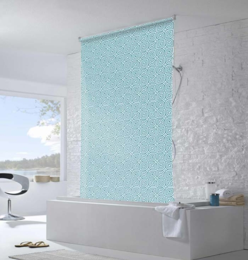 Roller blind shower curtain roller blind shower curtain for kids bathrooms - Bathroom shades waterproof ...