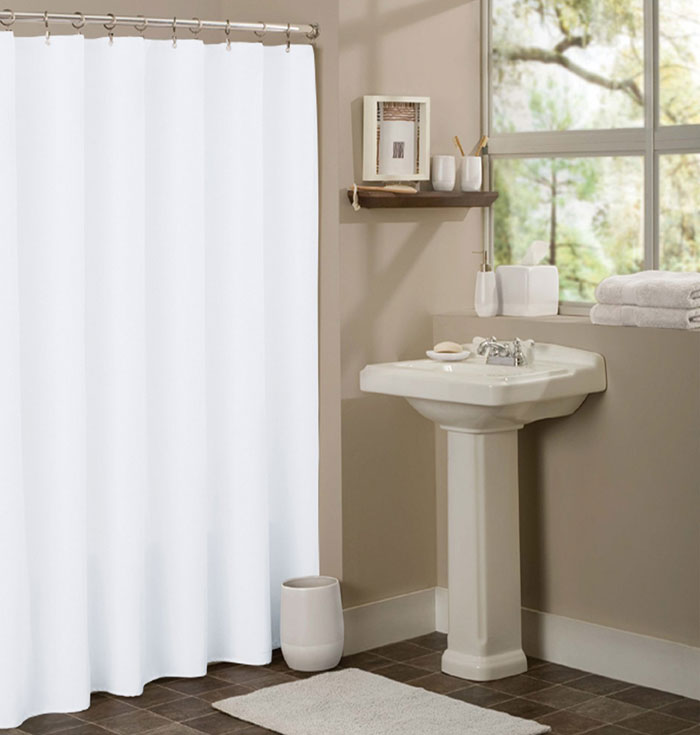 Best Selling White Hotel Shower Curtain