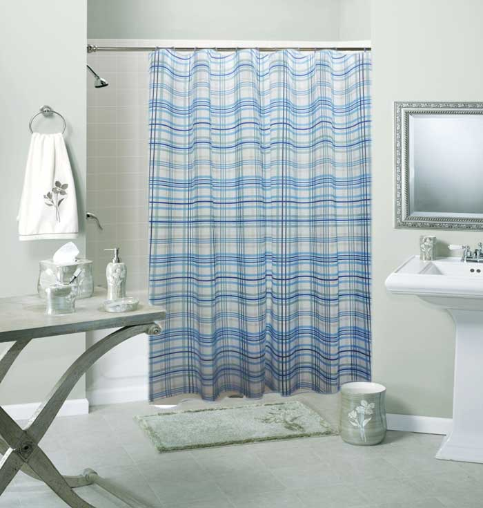 Specification Of Navy And White Striped Shower Curtain