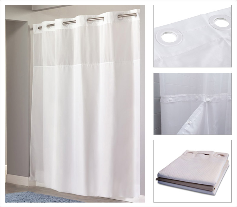 Details Image Of Hotel Shower Curtain With Snap In Liner